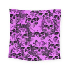Cloudy Skulls Pink Square Tapestry (Small)