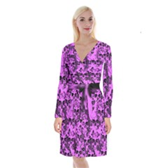 Cloudy Skulls Pink Long Sleeve Velvet Front Wrap Dress