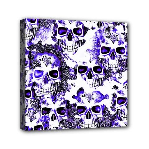 Cloudy Skulls White Blue Mini Canvas 6  x 6