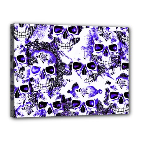 Cloudy Skulls White Blue Canvas 16  x 12