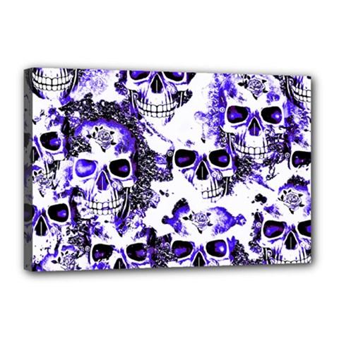 Cloudy Skulls White Blue Canvas 18  x 12