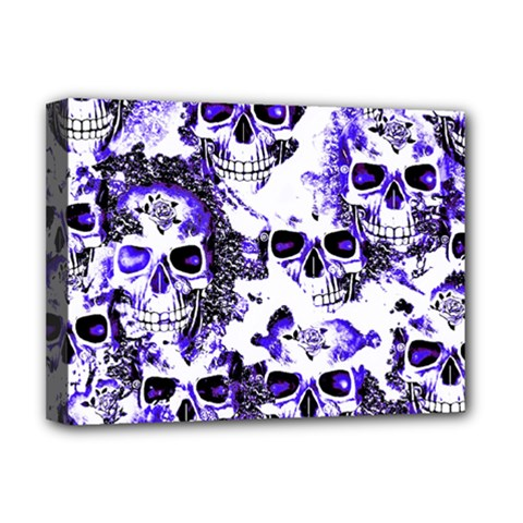 Cloudy Skulls White Blue Deluxe Canvas 16  x 12