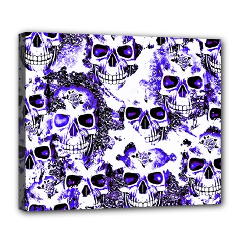Cloudy Skulls White Blue Deluxe Canvas 24  x 20