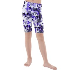 Cloudy Skulls White Blue Kids  Mid Length Swim Shorts