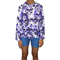 Cloudy Skulls White Blue Kids  Long Sleeve Swimwear