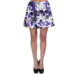 Cloudy Skulls White Blue Skater Skirt