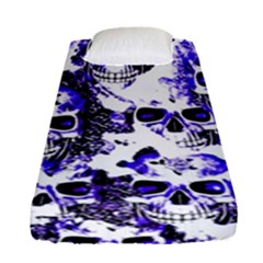 Cloudy Skulls White Blue Fitted Sheet (Single Size)