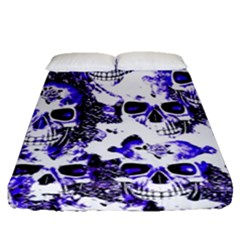 Cloudy Skulls White Blue Fitted Sheet (Queen Size)