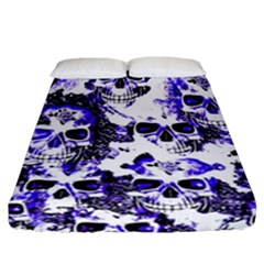 Cloudy Skulls White Blue Fitted Sheet (California King Size)