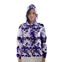 Cloudy Skulls White Blue Hooded Wind Breaker (Women)