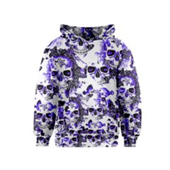 Cloudy Skulls White Blue Kids  Pullover Hoodie