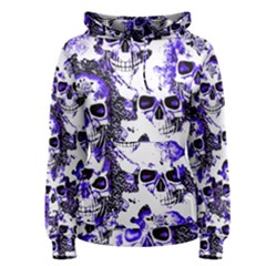 Cloudy Skulls White Blue Women s Pullover Hoodie
