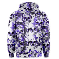 Cloudy Skulls White Blue Men s Zipper Hoodie