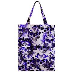 Cloudy Skulls White Blue Zipper Classic Tote Bag