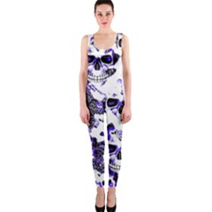 Cloudy Skulls White Blue OnePiece Catsuit