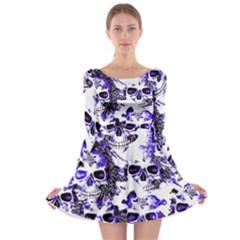 Cloudy Skulls White Blue Long Sleeve Skater Dress