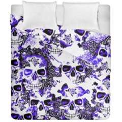 Cloudy Skulls White Blue Duvet Cover Double Side (California King Size)