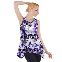 Cloudy Skulls White Blue Side Drop Tank Tunic