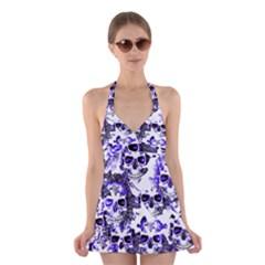 Cloudy Skulls White Blue Halter Swimsuit Dress