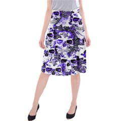 Cloudy Skulls White Blue Midi Beach Skirt