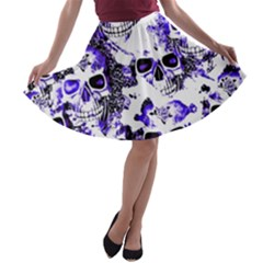 Cloudy Skulls White Blue A-line Skater Skirt