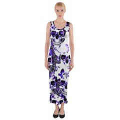 Cloudy Skulls White Blue Fitted Maxi Dress