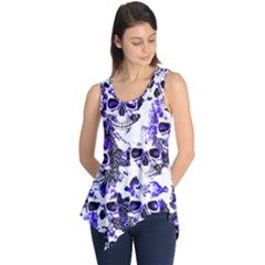 Cloudy Skulls White Blue Sleeveless Tunic