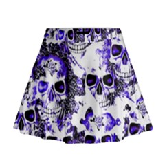 Cloudy Skulls White Blue Mini Flare Skirt