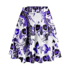 Cloudy Skulls White Blue High Waist Skirt