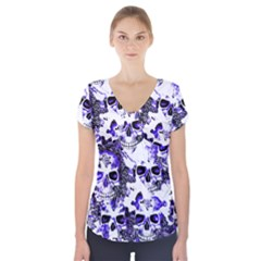 Cloudy Skulls White Blue Short Sleeve Front Detail Top