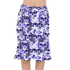 Cloudy Skulls White Blue Mermaid Skirt