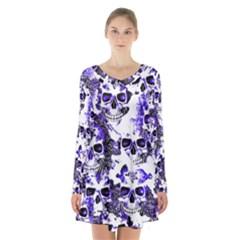 Cloudy Skulls White Blue Long Sleeve Velvet V-neck Dress