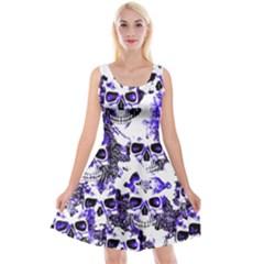 Cloudy Skulls White Blue Reversible Velvet Sleeveless Dress