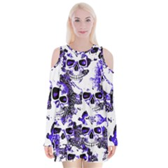 Cloudy Skulls White Blue Velvet Long Sleeve Shoulder Cutout Dress