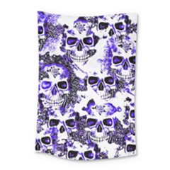 Cloudy Skulls White Blue Small Tapestry