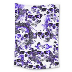 Cloudy Skulls White Blue Large Tapestry