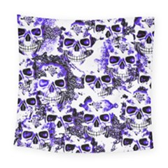 Cloudy Skulls White Blue Square Tapestry (Large)