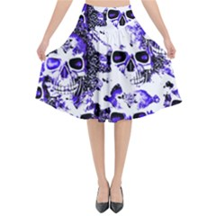 Cloudy Skulls White Blue Flared Midi Skirt