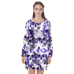 Cloudy Skulls White Blue Long Sleeve Chiffon Shift Dress