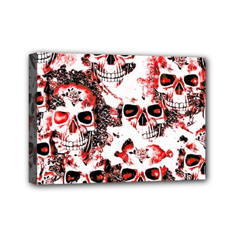 Cloudy Skulls White Red Mini Canvas 7  x 5