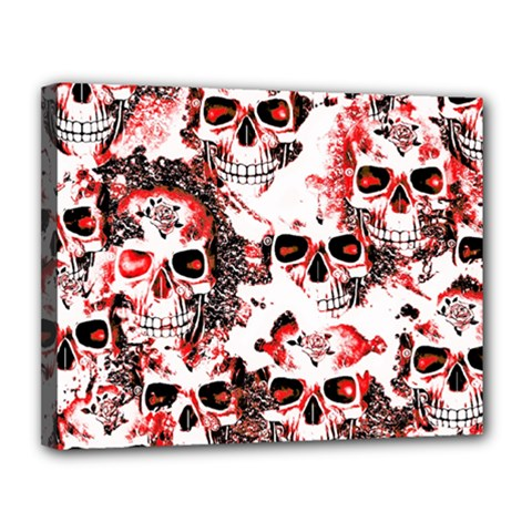 Cloudy Skulls White Red Canvas 14  x 11