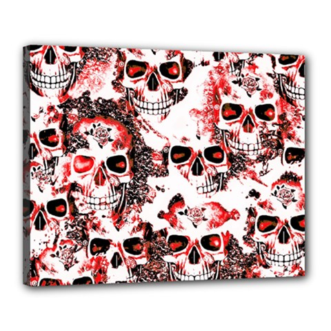 Cloudy Skulls White Red Canvas 20  x 16