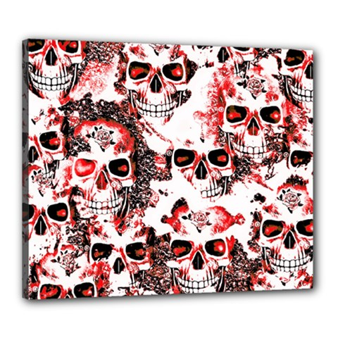 Cloudy Skulls White Red Canvas 24  x 20