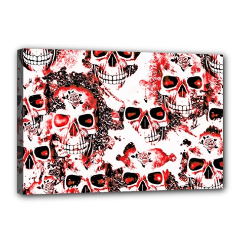 Cloudy Skulls White Red Canvas 18  x 12