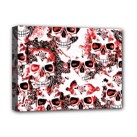 Cloudy Skulls White Red Deluxe Canvas 16  x 12