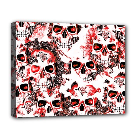 Cloudy Skulls White Red Deluxe Canvas 20  x 16