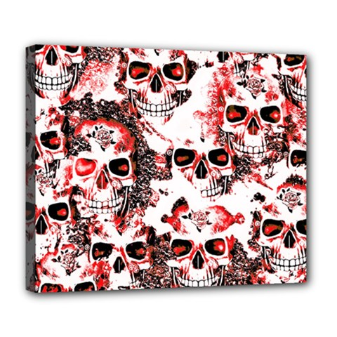 Cloudy Skulls White Red Deluxe Canvas 24  x 20
