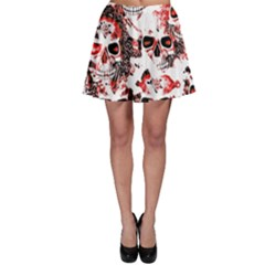 Cloudy Skulls White Red Skater Skirt