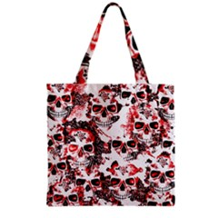 Cloudy Skulls White Red Grocery Tote Bag