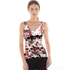 Cloudy Skulls White Red Tank Top